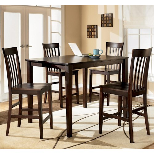 Ashley Furniture Hyland 5-Piece Rectangular Counter Height Table with 4 Bar Stools