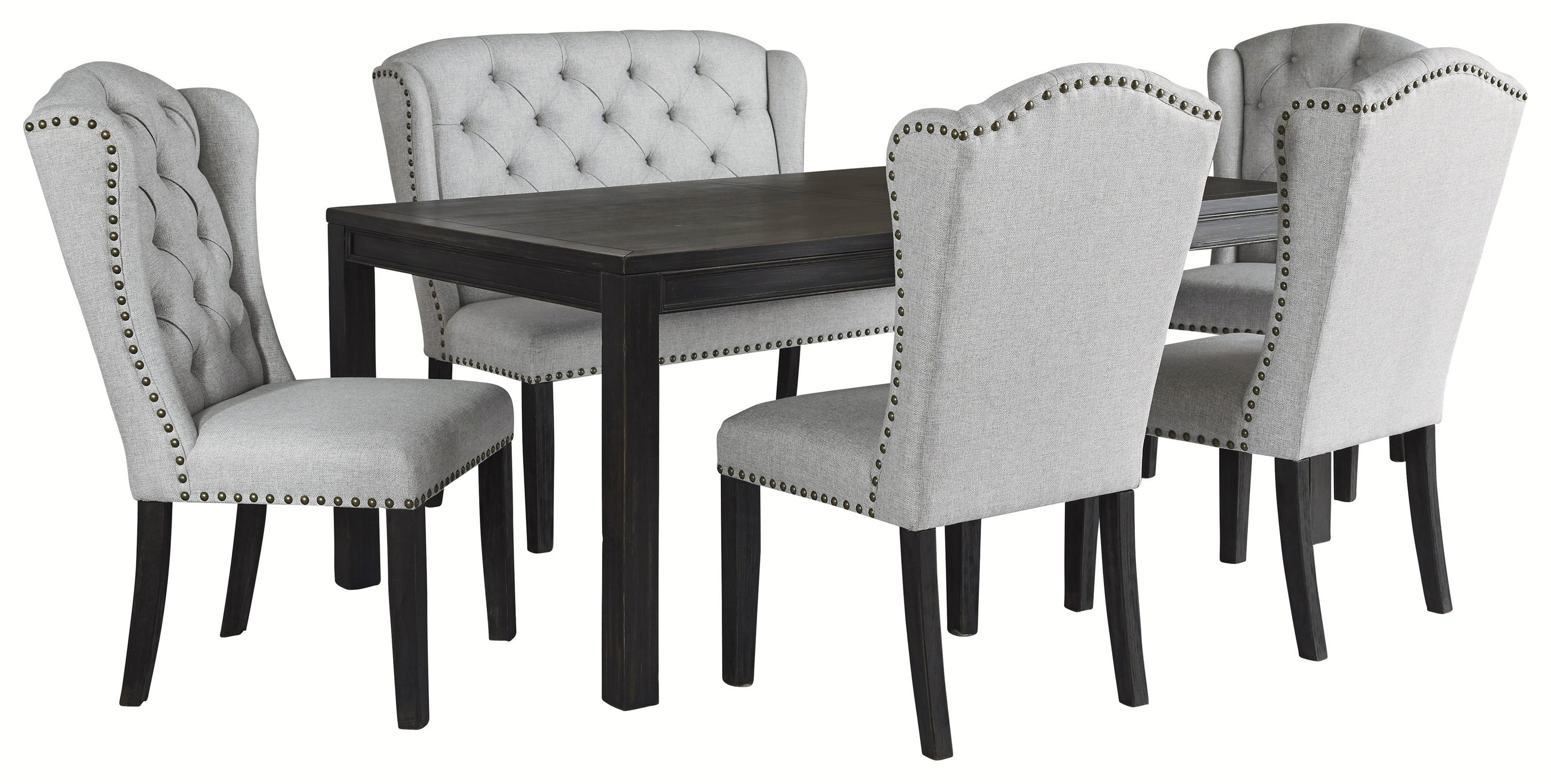 Picture of: Ashley Furniture Jeanette D702 25 4×01 08 6 Piece Rectangular Dining Table 4 Upholstered Side Chairs And Upholstered Bench Sam Levitz Furniture Table Chair Set With Bench