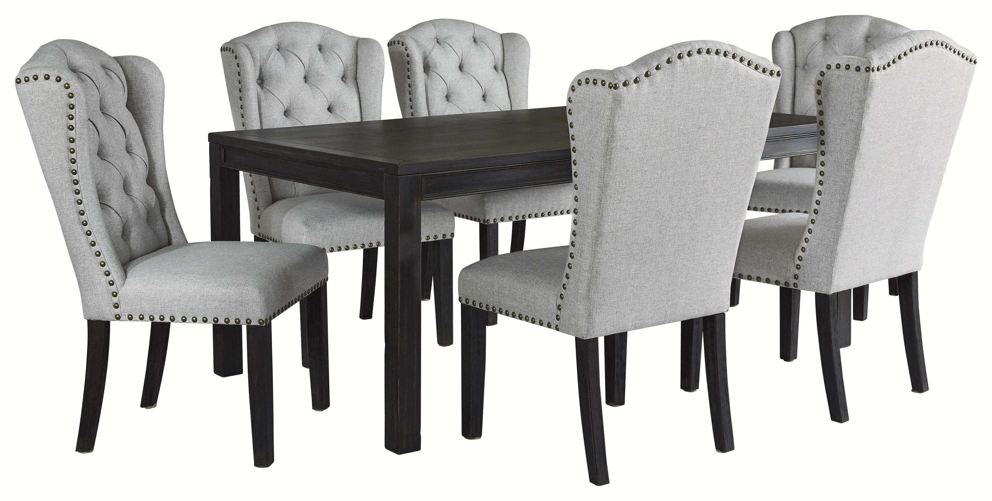 Picture of: Ashley Furniture Jeanette D702 25 6×01 7 Pc Rect Table And 6 Uph Side Chairs Set Sam Levitz Furniture Dining 7 Or More Piece Sets
