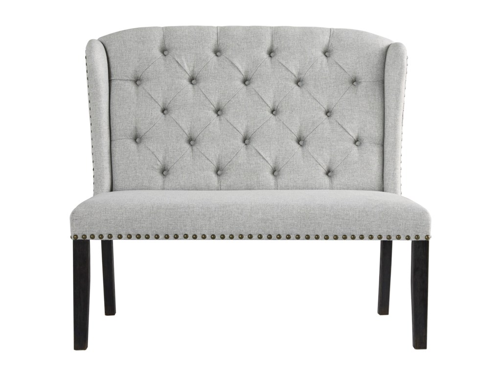 Ashley Furniture Jeanette Upholstered Bench With Tufted Wingback And Nailhead Trim | Wayside Furniture | Dining Benches