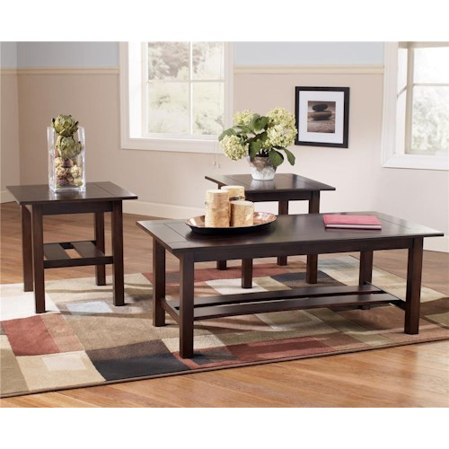 Signature Design by Ashley Lewis Contemporary 3-in-1 Pack Occasional Tables with Cocktail Table and 2 End Tables
