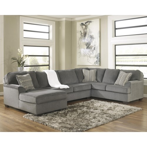 Ashley Furniture Loric - Smoke Contemporary 3-Piece Sectional with Left Chaise