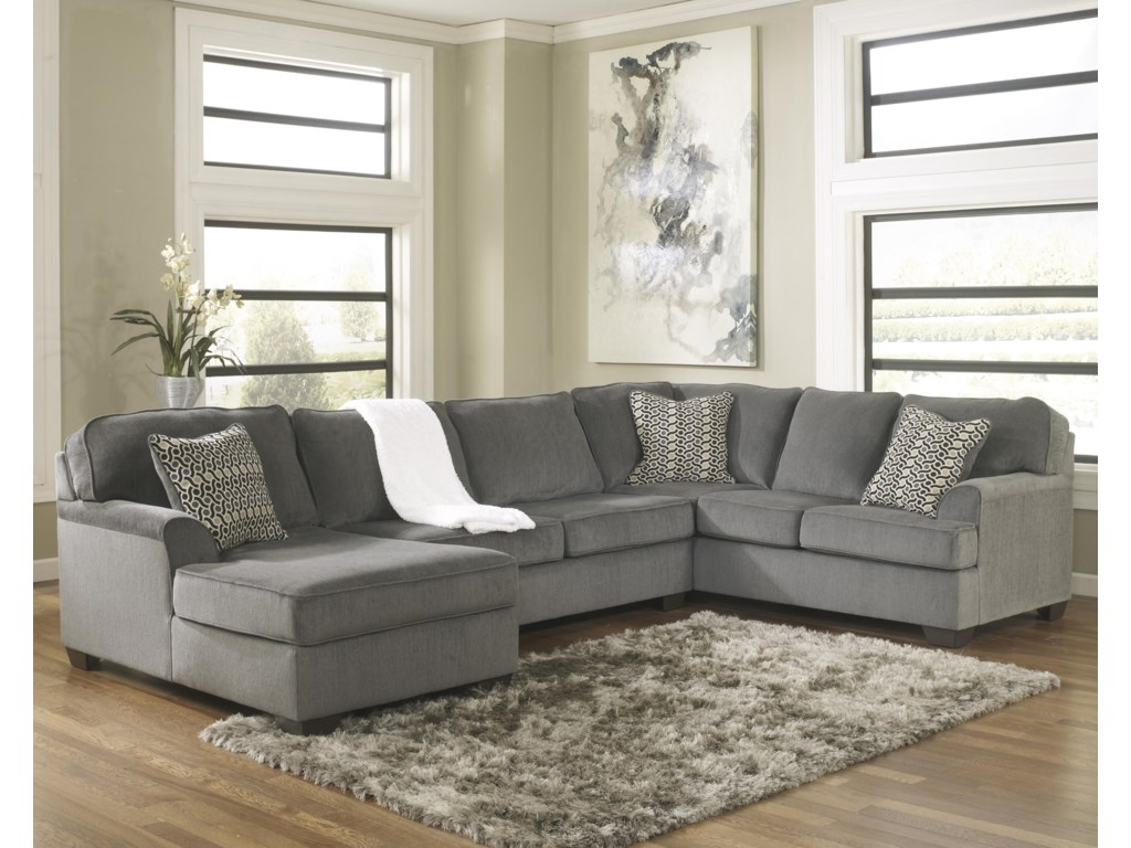 Loric - Smoke Contemporary 3-Piece Sectional with Left Chaise by Ashley  Furniture at John V Schultz Furniture