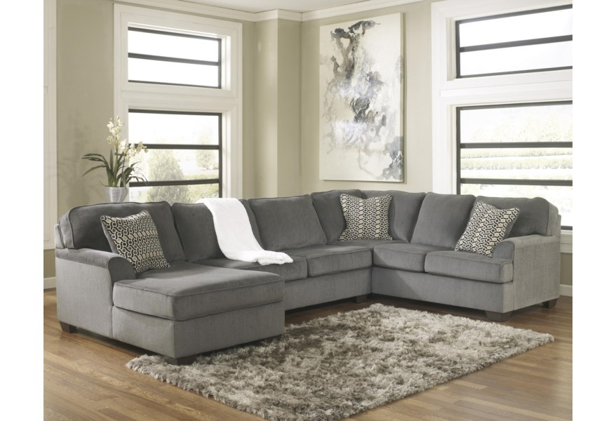 Loric - Smoke Contemporary 3-Piece Sectional with Left Chaise by Ashley  Furniture at Furniture and ApplianceMart