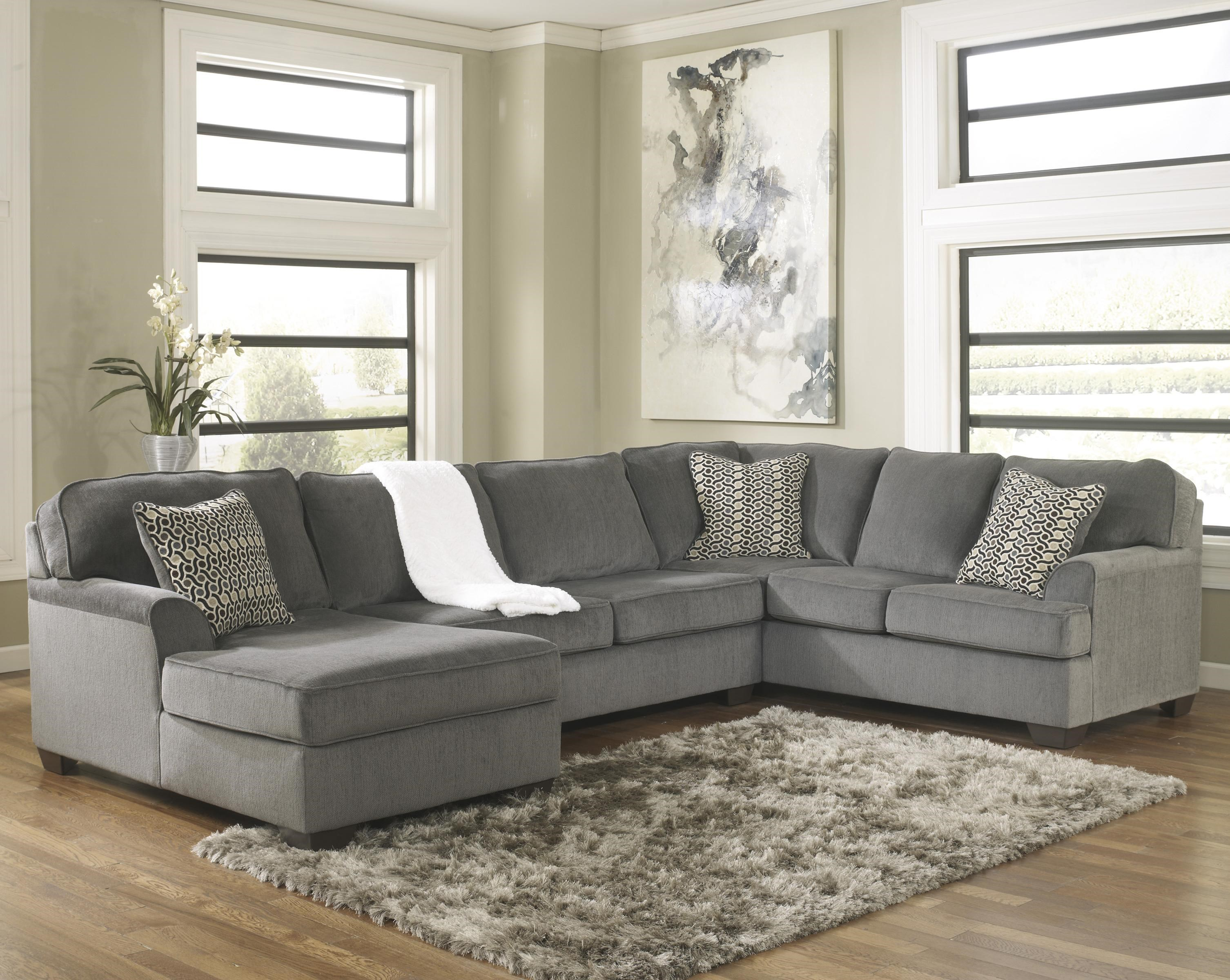 Ashley Furniture Loric   SmokeContemporary 3 Piece Sectional With Chaise ...
