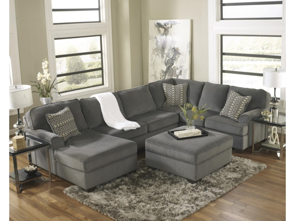 Ashley Furniture Loric - SmokeContemporary 3-Piece Sectional with Chaise