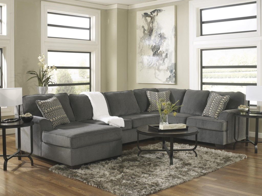 Loric - Smoke Contemporary 3-Piece Sectional with Chaise