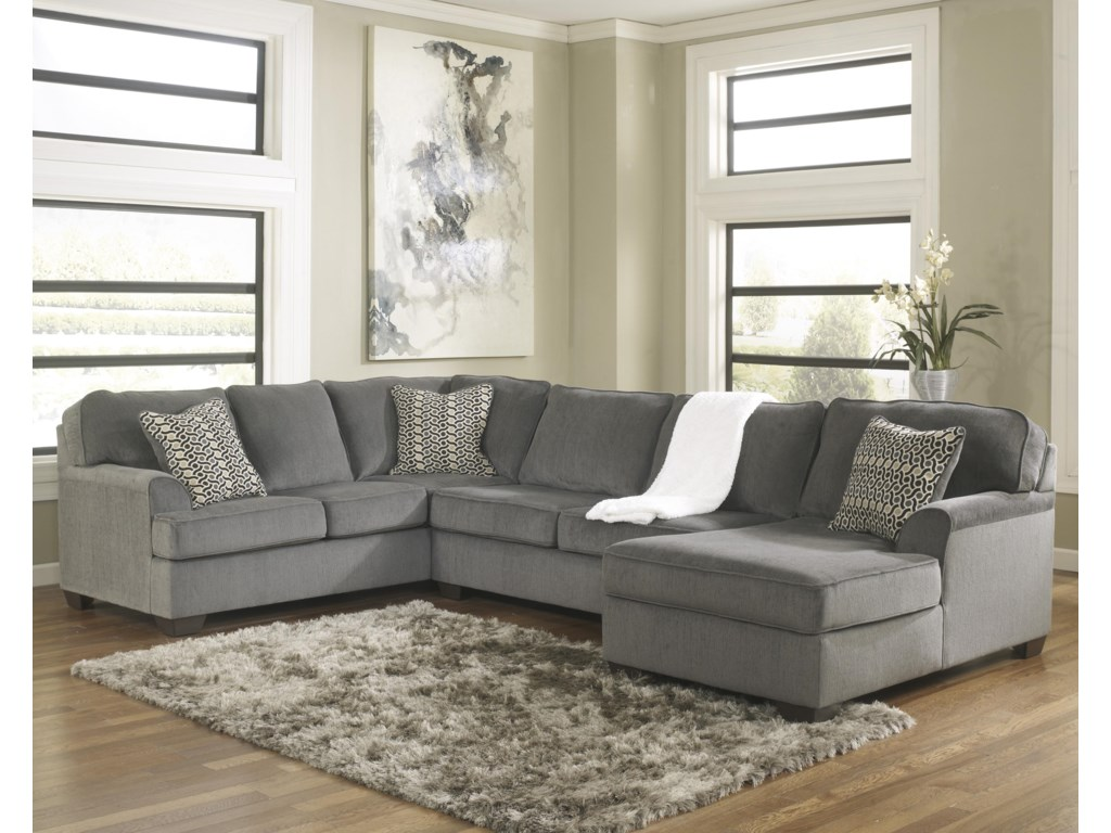 Ashley Furniture Loric Smoke Contemporary 3 Piece Sectional With