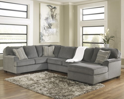 Ashley Furniture Loric Smoke Contemporary 3 Piece Sectional With Right Chaise Furniture Mart