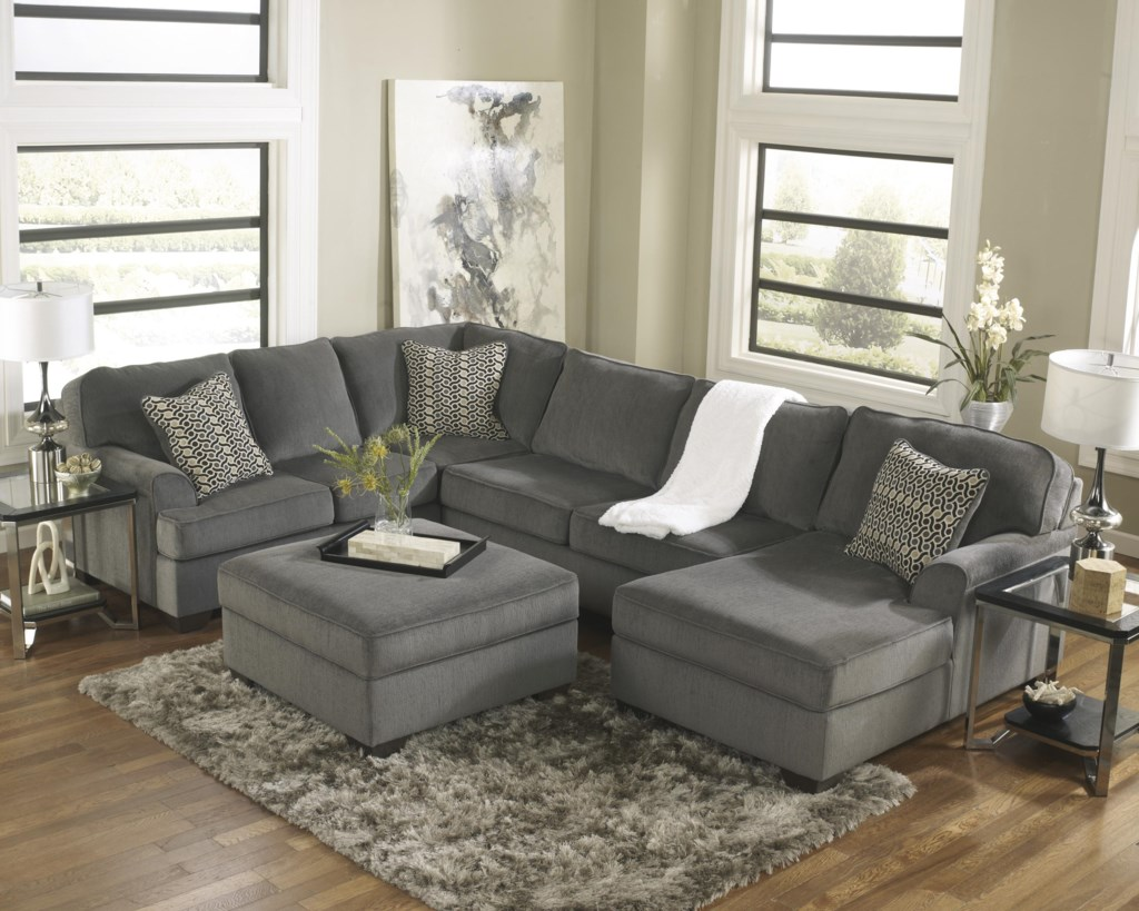 Ashley Furniture Loric Smoke Contemporary 3 Piece Sectional With  ~ Ashley Laf Sofa Sectional