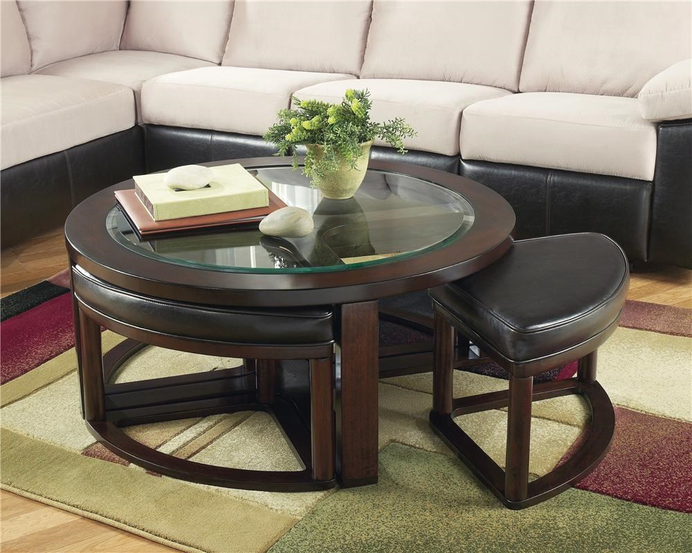 Marion Glass Round Cocktail Table W/ 4 Backless Stools