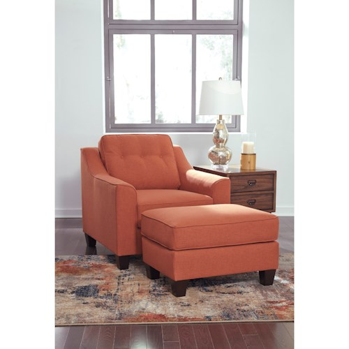 Ashley Furniture Menga Transitional Chair and Ottoman Set with Button Tufting