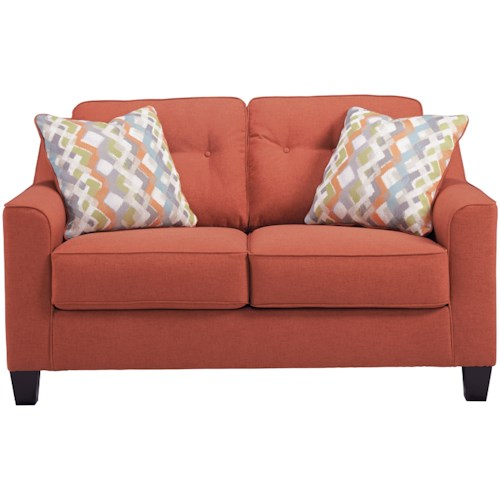 Ashley Furniture Menga Transitional Love Seat with Button Tufting