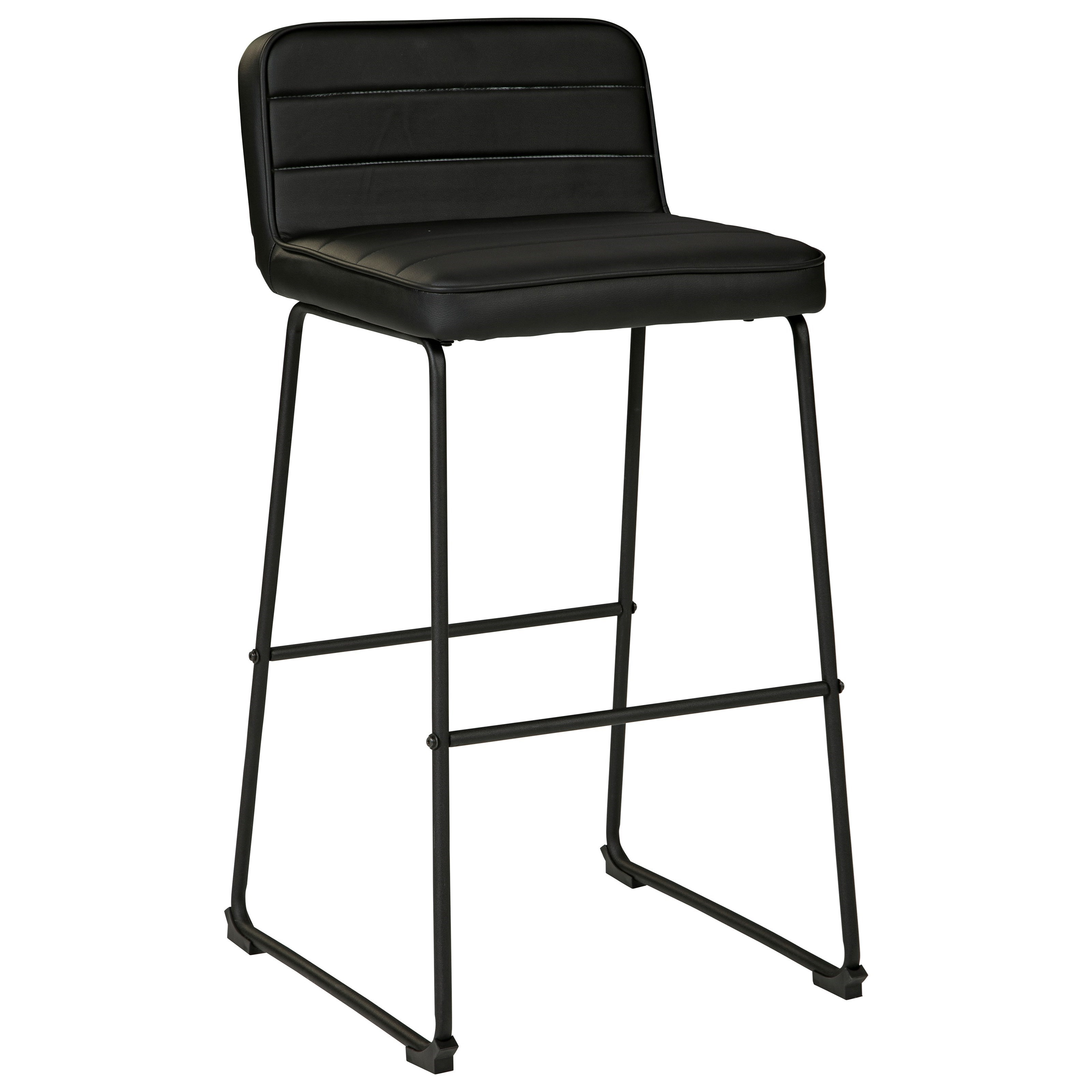 Contemporary Black Tall Bar Stool with Upholstered Seat and Back