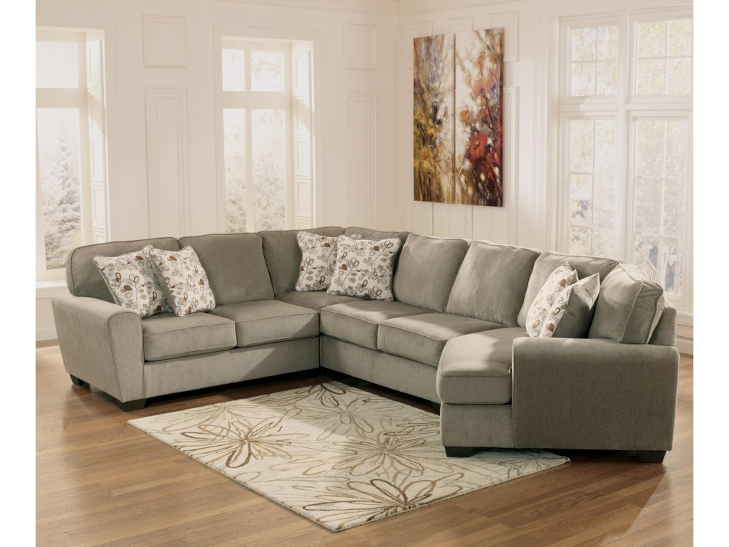 Ashley Furniture Patola Park - Patina4-Piece Small Sectional with Right Cuddler