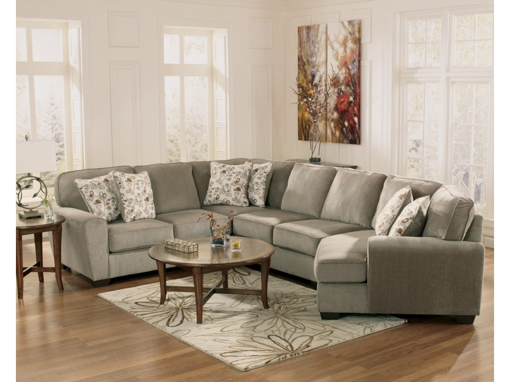 Ashley Furniture Patola Park Patina4 Piece Small Sectional With Right Cuddler