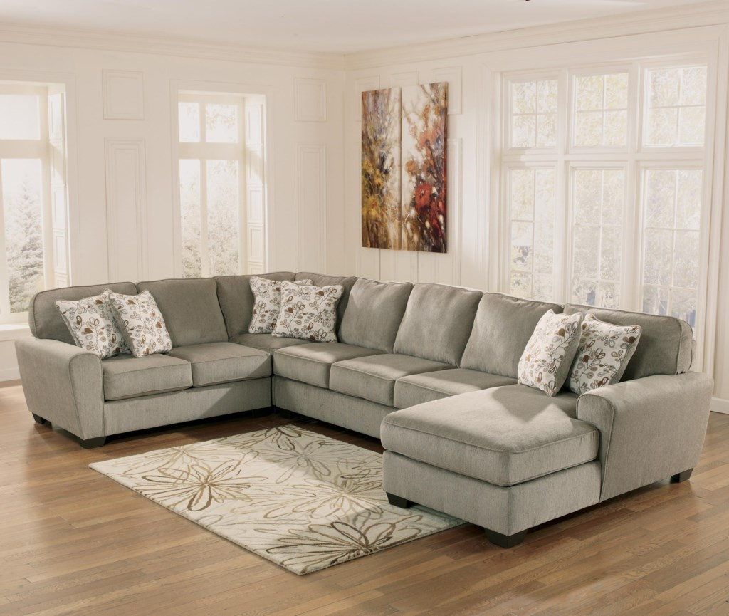 Ashley Furniture Patola Park Patina 4 Piece Sectional With Right  ~ Sofa Beds Ashley Furniture
