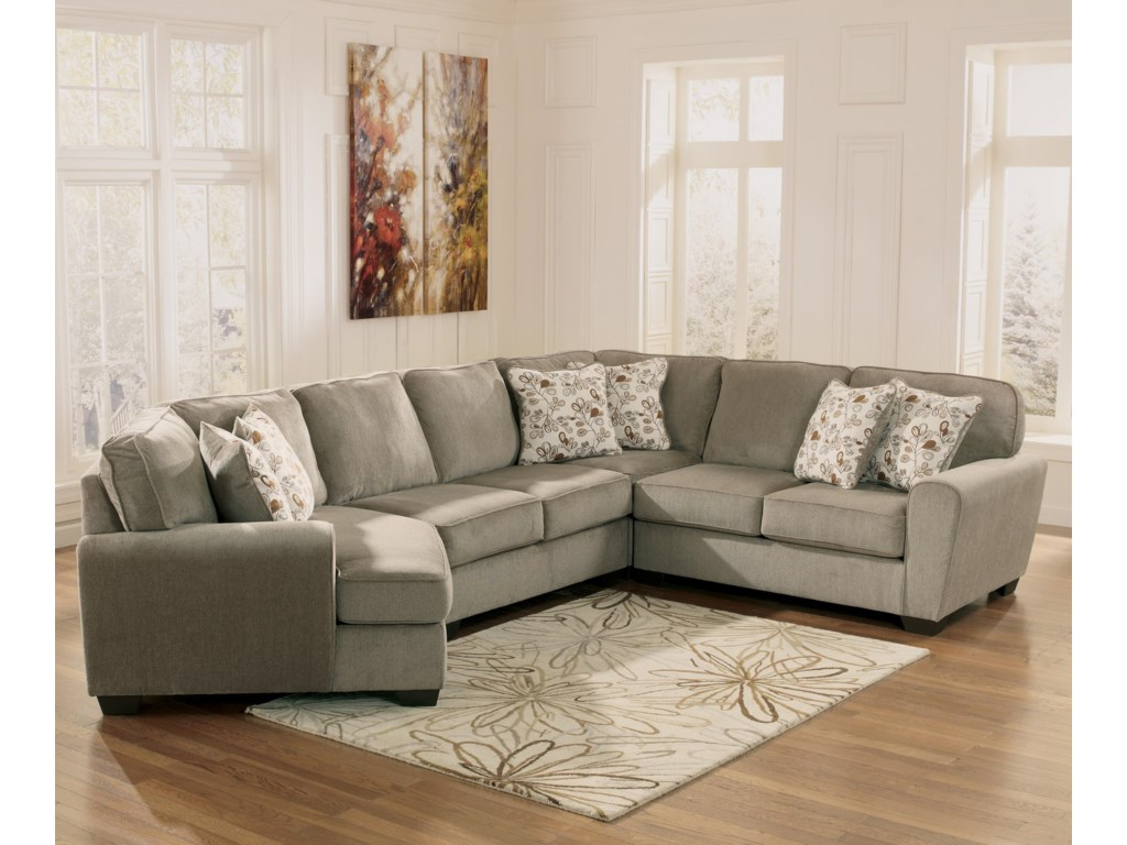Ashley Furniture Patola Park - Patina4-Piece Small Sectional with Left Cuddler