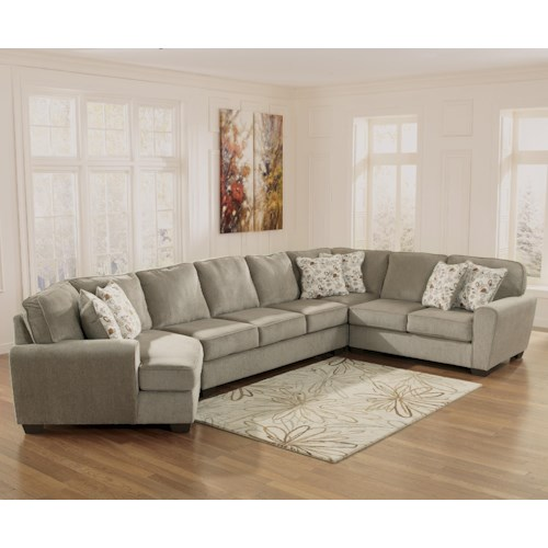 Ashley Furniture Patola Park - Patina 4-Piece Sectional with Left Cuddler