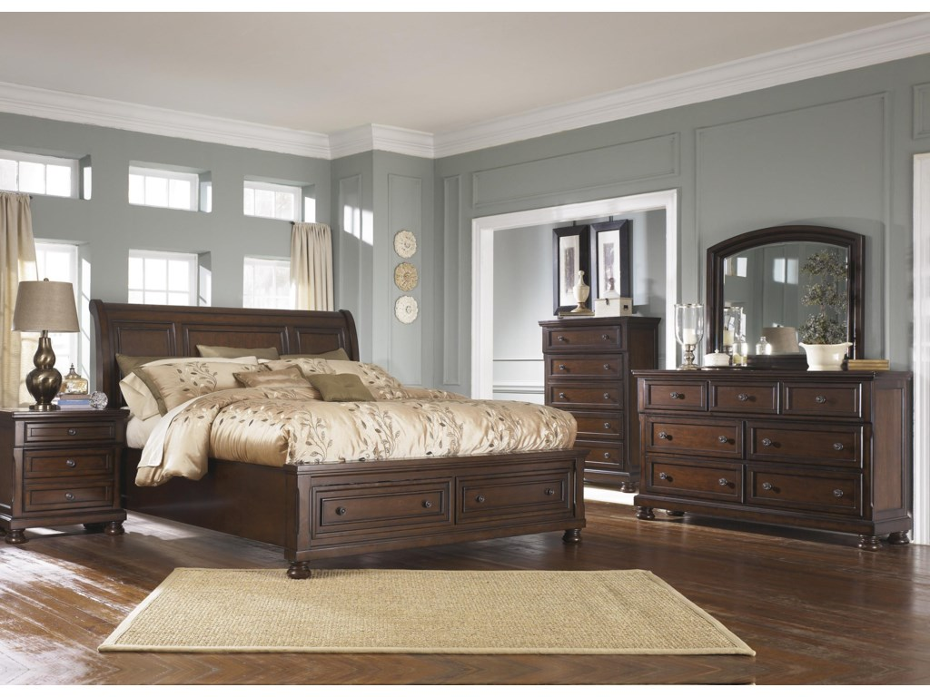 Ashley Furniture PorterQueen Sleigh Bed with Storage Package