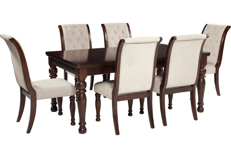 Ashley Furniture Porter D697 35 6x04 7 Piece Rectangular Extension Table Upholstered Side Chair Set Northeast Factory Direct Dining 7 Or More Piece Sets