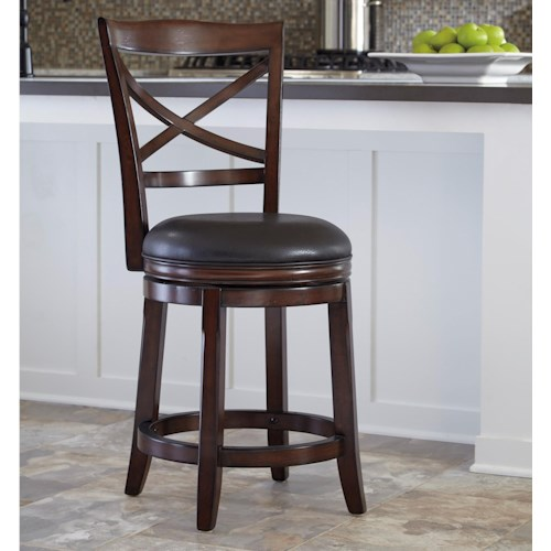 Ashley Furniture Porter Counter Height X Back Upholstered Swivel Barstool Turk Furniture Bar