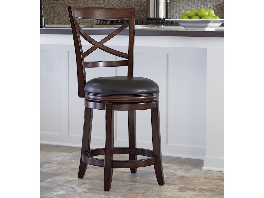 Porter counter height x back upholstered swivel barstool by ashley furniture