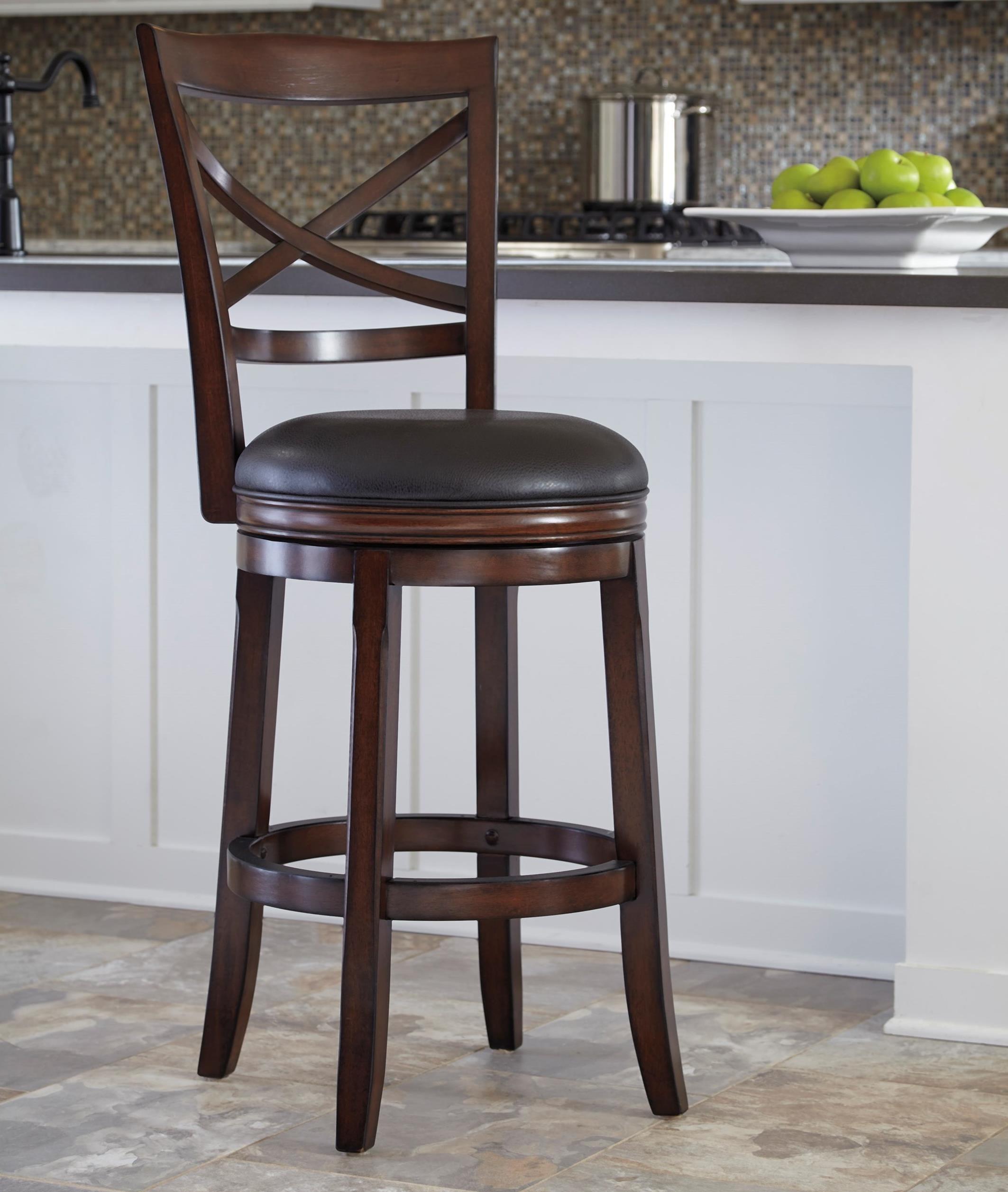 Ashley Furniture Porter Bar Height X-Back Tall Upholstered Swivel Barstool  sc 1 st  Wayside Furniture & Ashley Furniture Porter Bar Height X-Back Tall Upholstered Swivel ... islam-shia.org