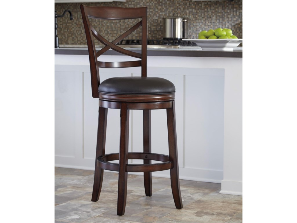 Porter bar height x back tall upholstered swivel barstool by ashley furniture