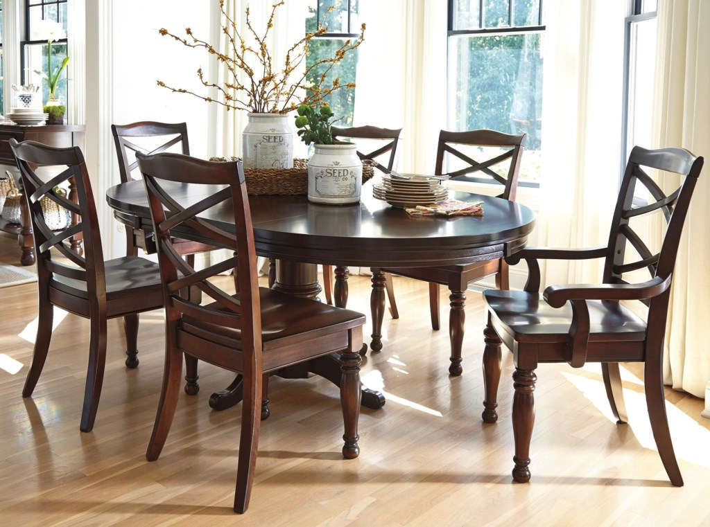 Ashley Furniture Porter 7 Piece Round Dining Table Set Pilgrim