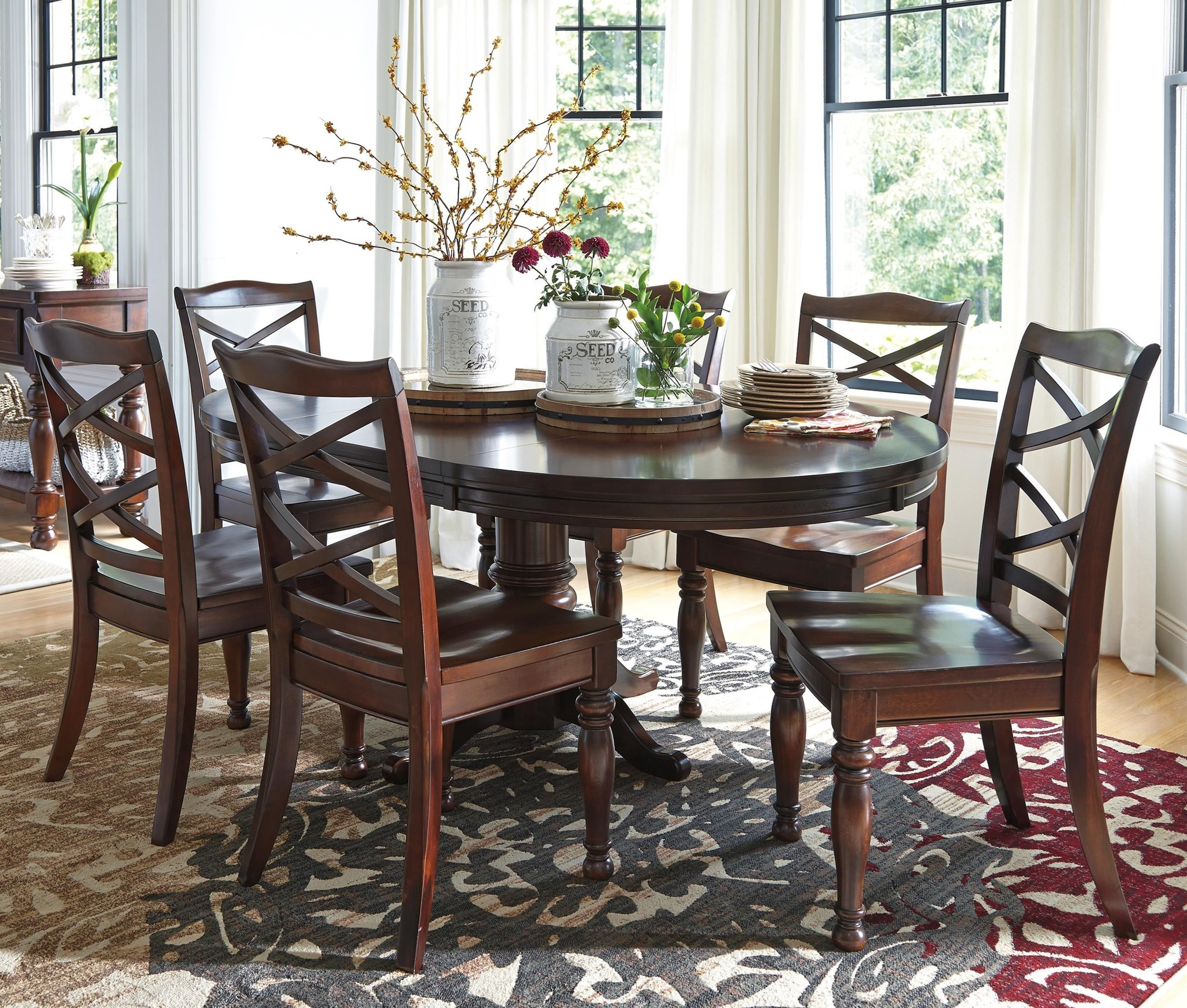 Delightful Ashley Furniture Porter 7 Piece Round Dining Table Set