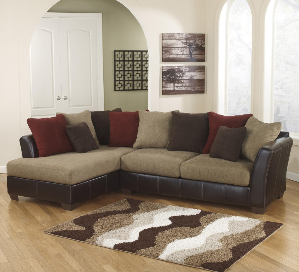 Ashley Furniture Sectional With Chaise ashley furniture sanya - mocha 2-piece sectional with left chaise