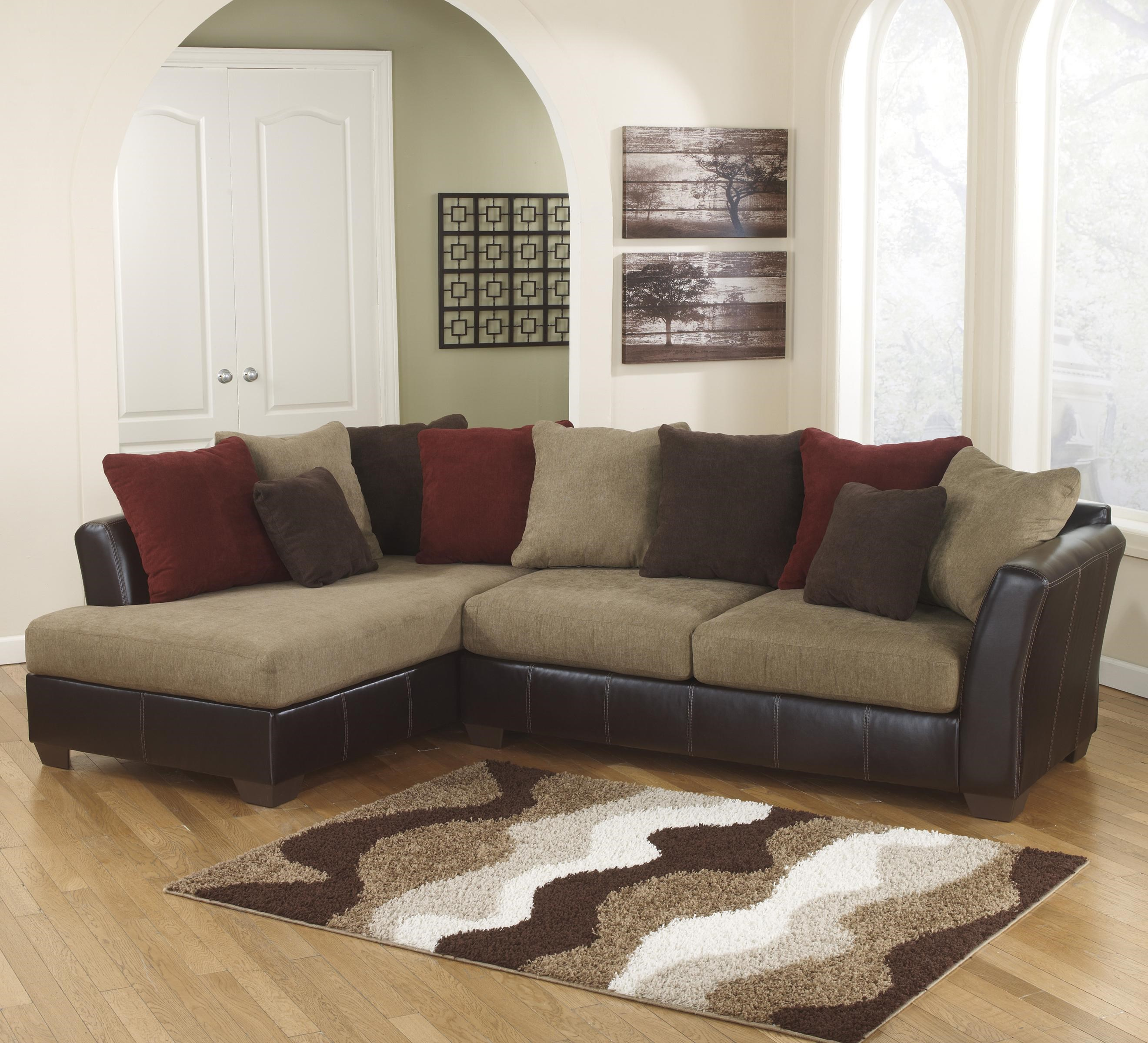 Ashley Furniture Brown Levar Durablend Nailhead Sofa Loveseat Package : ashley sofa sectional - Sectionals, Sofas & Couches