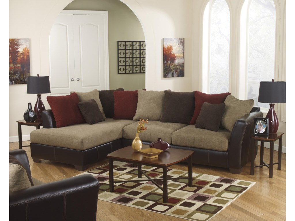 Ashley Furniture Sanya Mocha Piece Sectional With Left Chaise