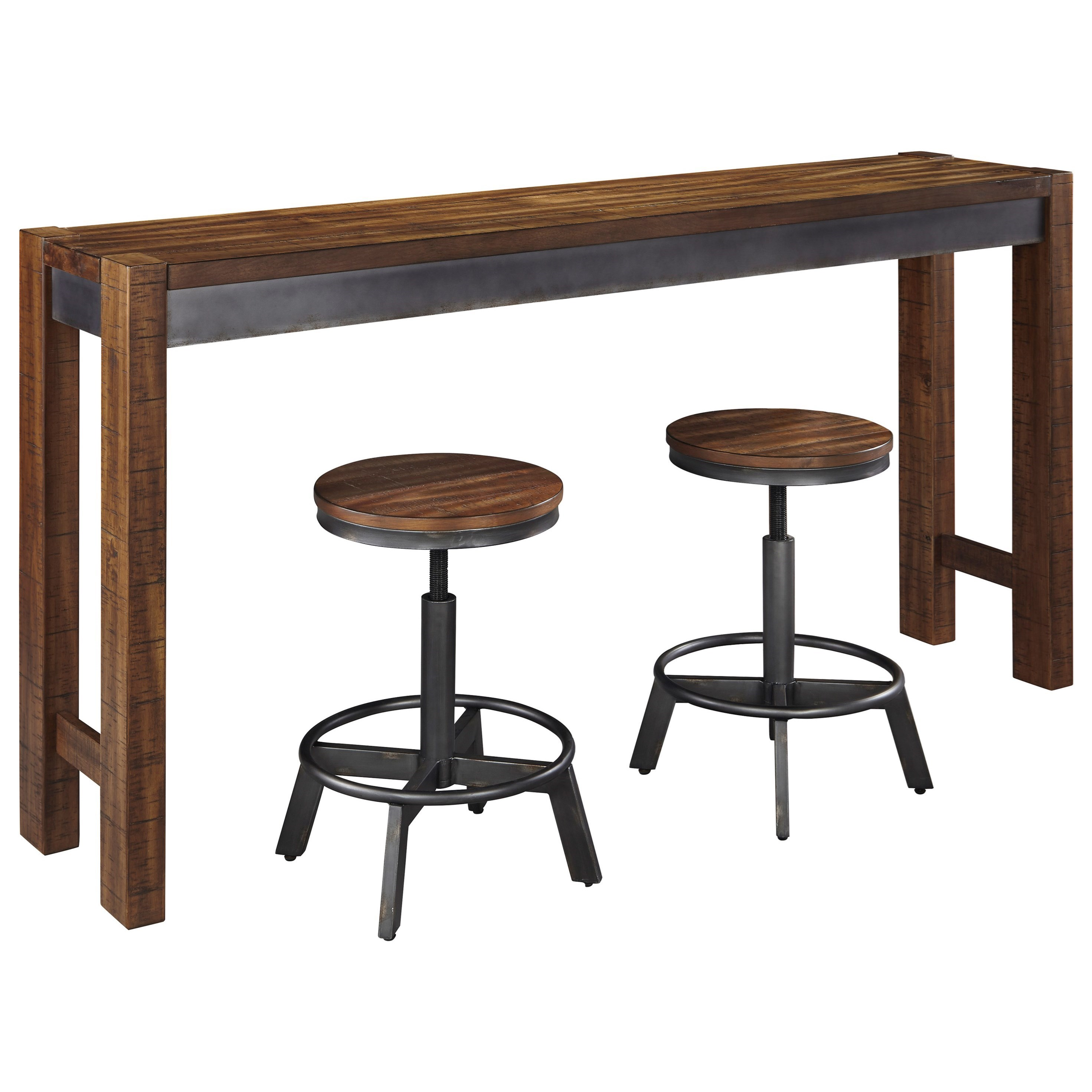 Signature Design By Ashley Torjin 3 Piece Rustic Long Counter Table Set   John  V Schultz Furniture   Pub Table And Stool Sets