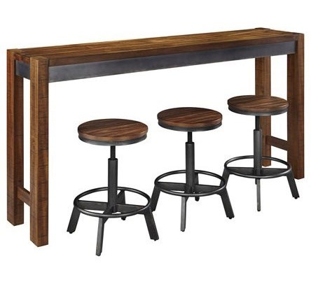 Ashley Signature Design Torjin Piece Rustic Long Counter Table Set - Ashley coffee table with stools