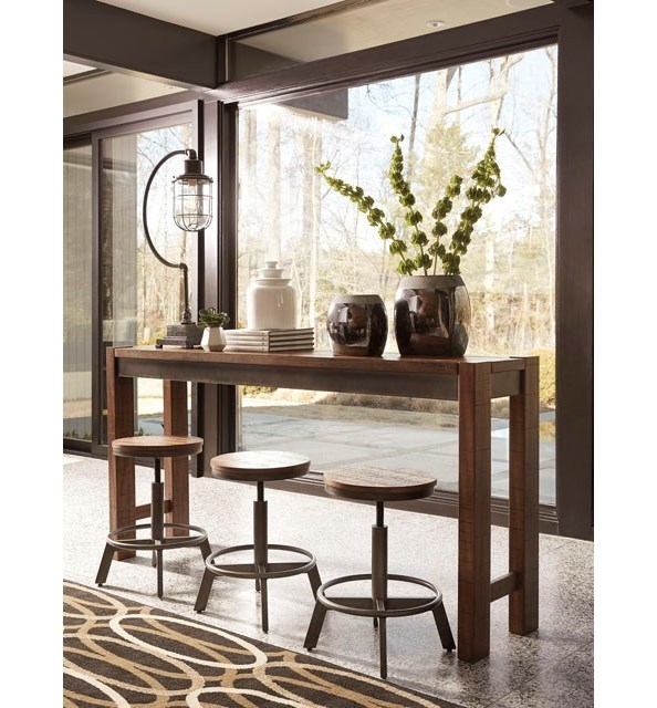 Signature Design by Ashley Torjin 4 Piece Rustic Long Counter Table ...