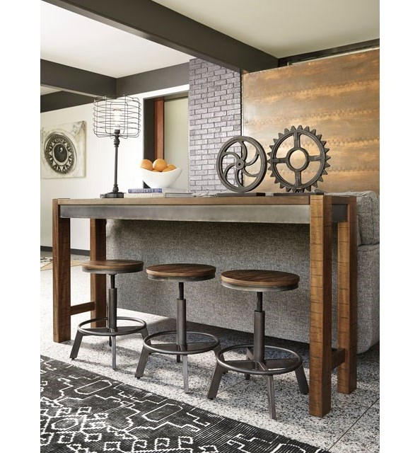Signature Design By Ashley Torjin Piece Rustic Long Counter Table - Long counter height dining table