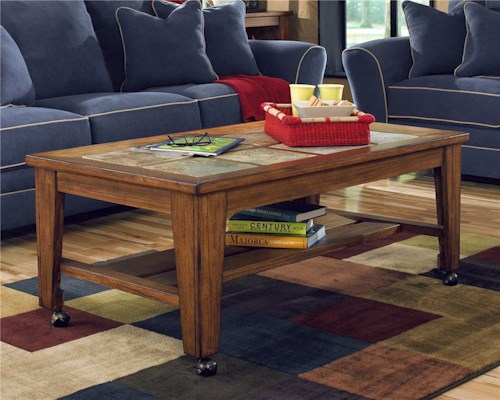 Signature Design by Ashley Toscana Rectangular Cocktail Table with Casters
