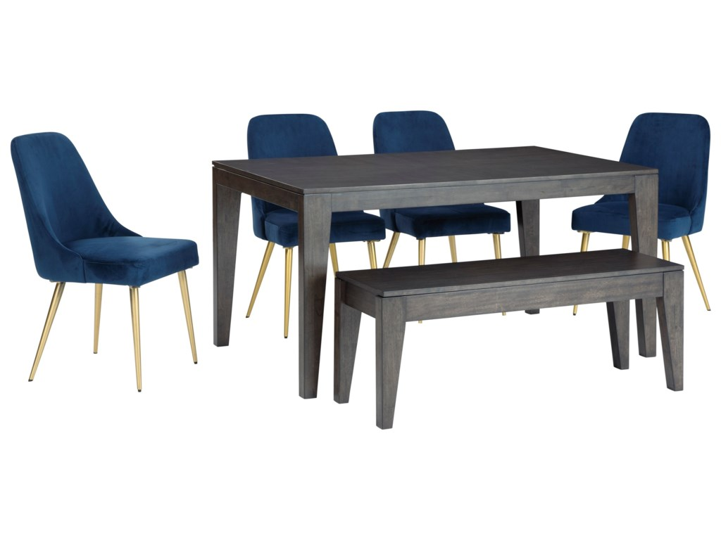 Ashley Furniture Trishcott6-Piece Table and Chair Set with Bench