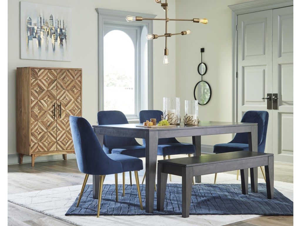 Ashley Furniture Trishcott D672 25 4x01 00 6 Piece Rectangular Dining Room Table 4 Upholstered Side Chairs And Bench Set Sam Levitz Furniture Table Chair Set With Bench