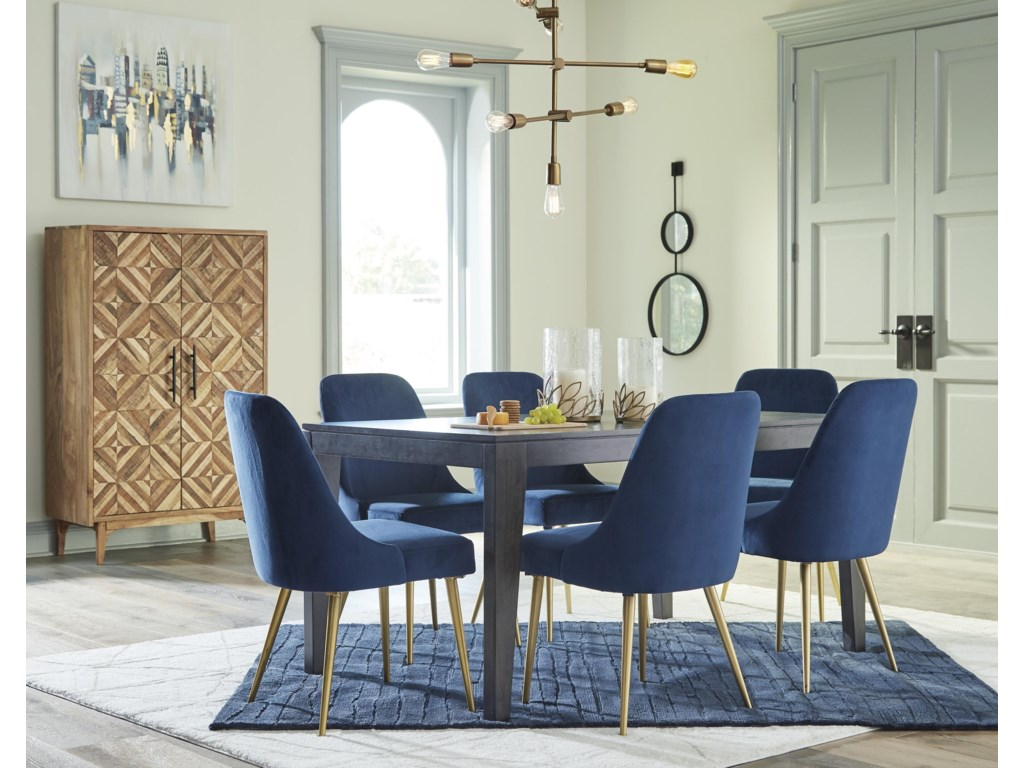 Ashley Furniture Trishcott D672 25 6x01 7 Piece Rectangular Dining Room Table And 6 Upholstered Side Chairs Set Sam Levitz Furniture Dining 7 Or More Piece Sets