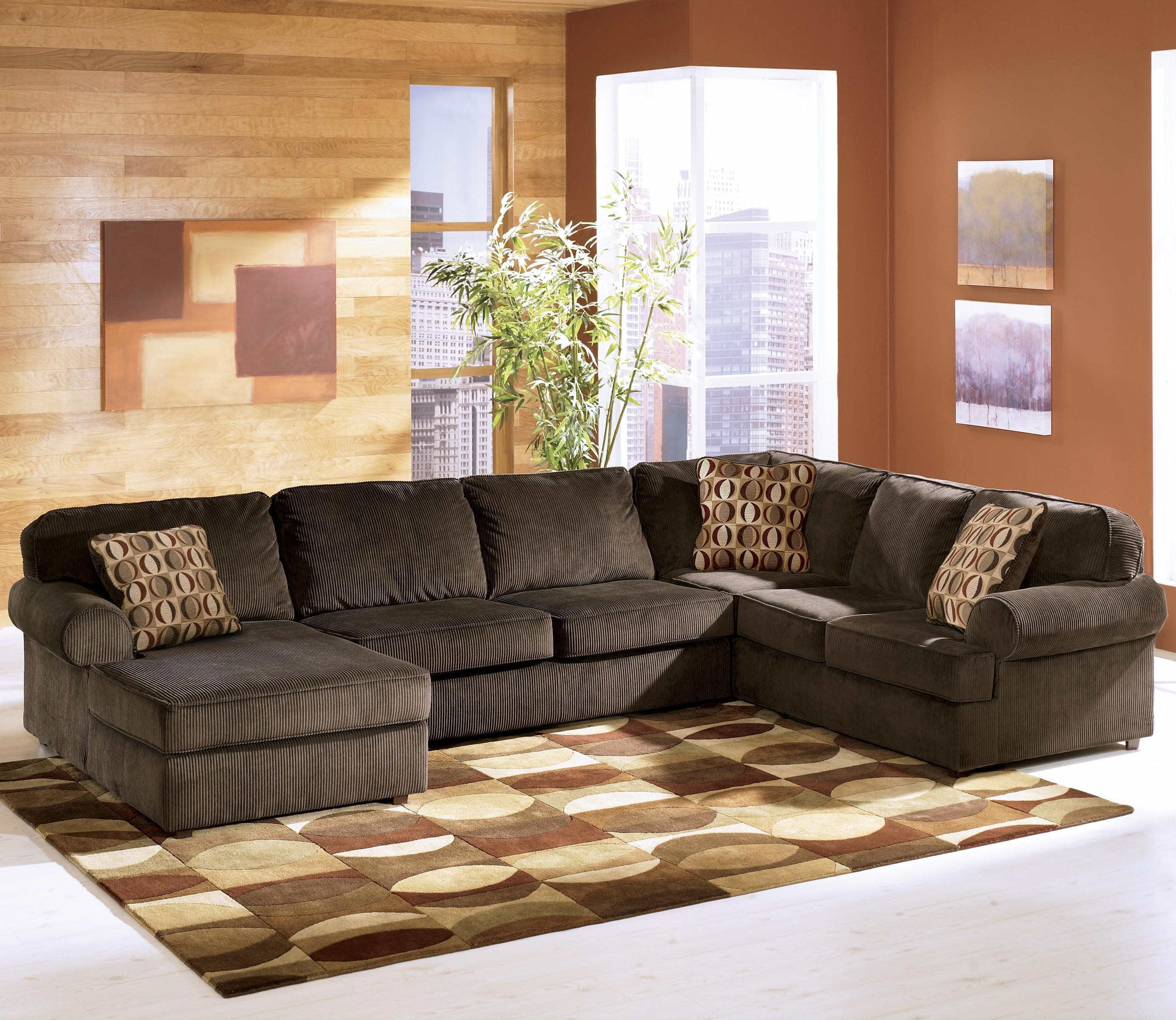 Ashley Furniture Sofa ashley furniture vista - chocolate casual 3-piece sectional with