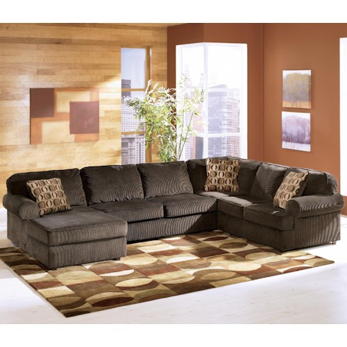 Ashley furniture vista chocolate casual 3 piece for Ashley sectional sofa with chaise