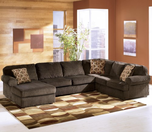ashley furniture sectional couch Ashley Furniture Vista   Chocolate Casual 3 Piece Sectional with  ashley furniture sectional couch