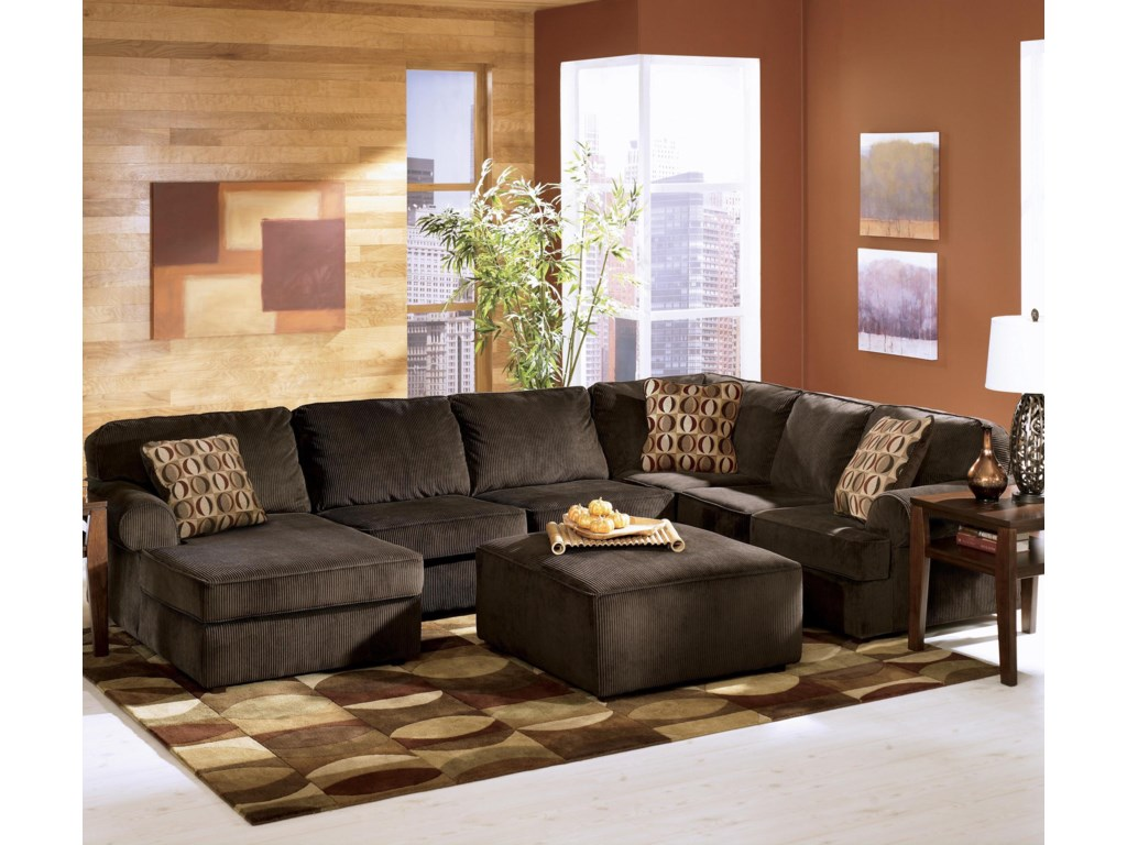 Ashley Furniture Vista - Chocolate3-Piece Sectional with Left Chaise