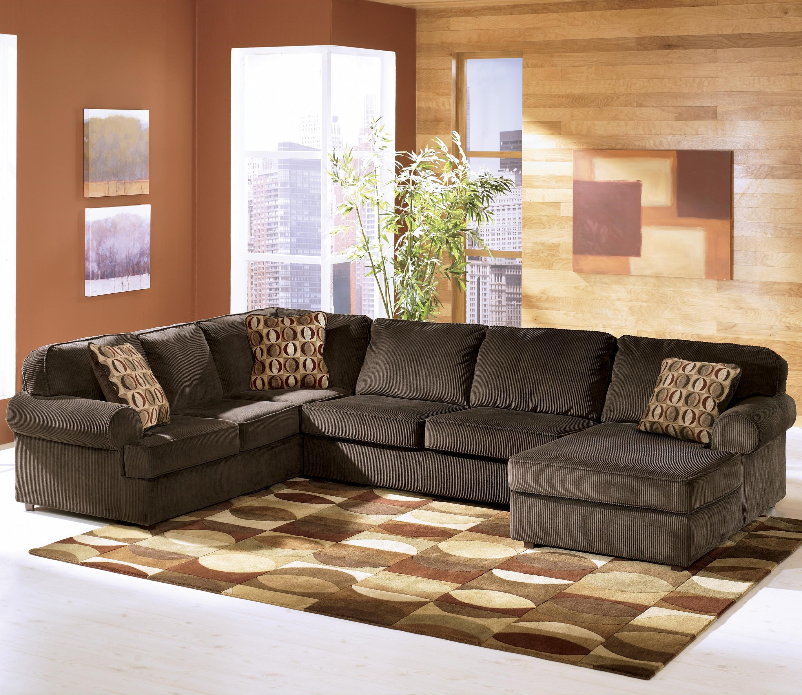 Bon Ashley Furniture Vista   Chocolate Casual 3 Piece Sectional With Right  Chaise