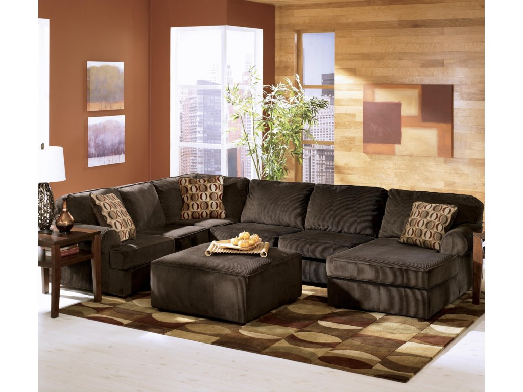 Ashley Furniture Vista - Chocolate3-Piece Sectional with Right Chaise