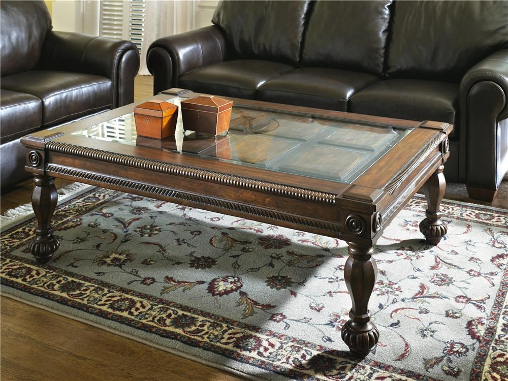 Signature Design By Ashley Mantera Glass Top Coffee Table Royal - Signature design by ashley coffee table set