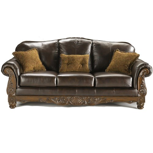 Millennium North Shore Dark Brown Traditional Leather Sofa Value City Furniture Sofas
